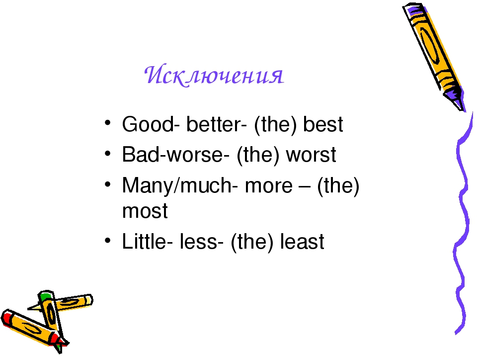 Исключения Good- better- (the) best Bad-worse- (the) worst Many/much- more –...