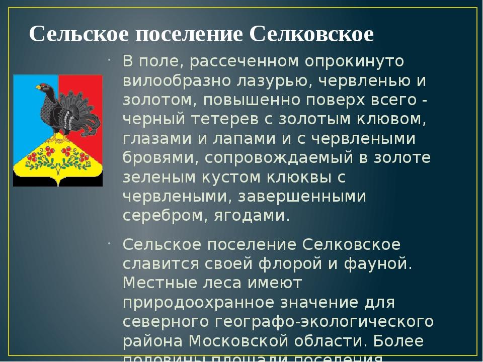 Сельское поселение Селковское В поле, рассеченном опрокинуто вилообразно лазу...