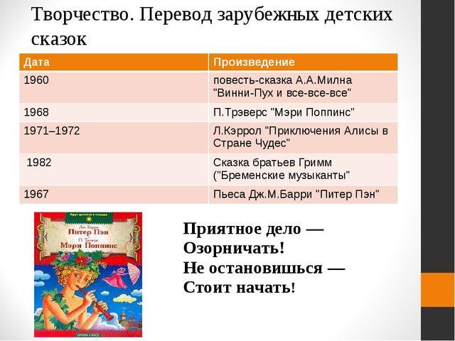 Творчество. Перевод зарубежных детских сказок Дата Произведение 1960 повесть-...