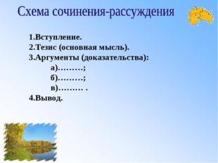 1.Вступление. 2.Тезис (основная мысль). 3.Аргументы (доказательства): а)………;