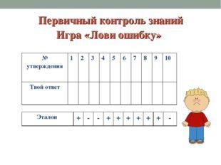 Первичный контроль знаний Игра «Лови ошибку» № утверждения123456789