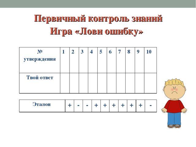Первичный контроль знаний Игра «Лови ошибку» № утверждения123456789...