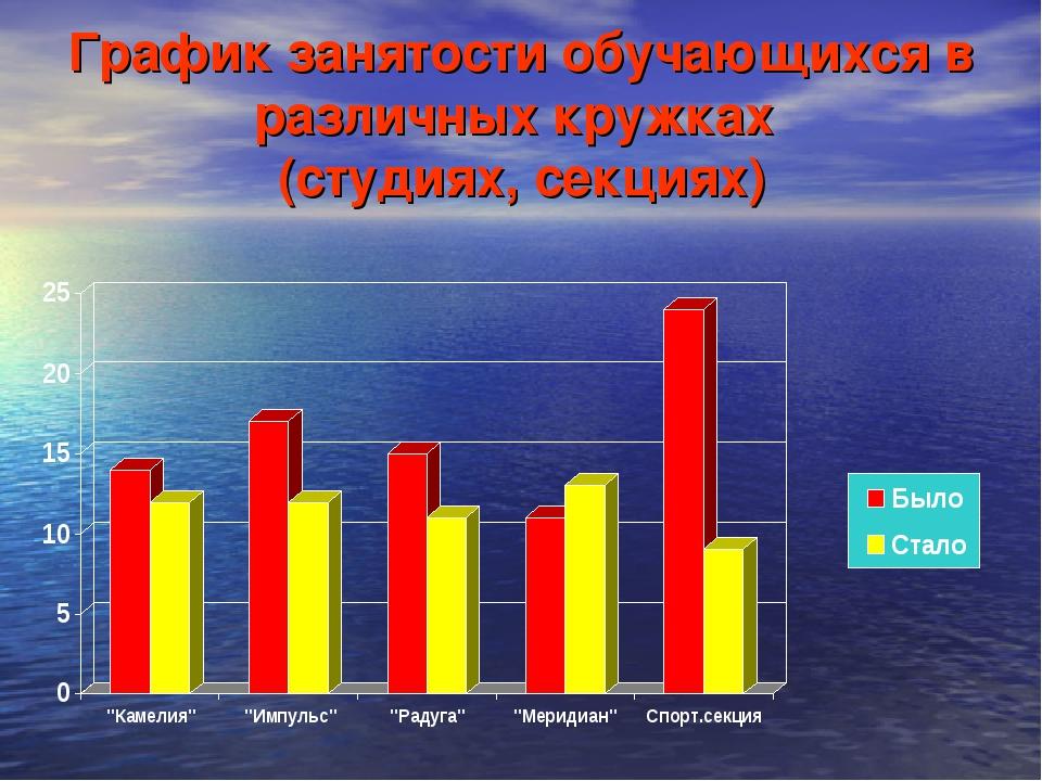 График занятости обучающихся в различных кружках (студиях, секциях)