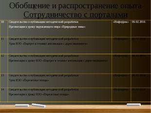 Обобщение и распространение опыта Сотрудничество с порталами 10 Свидетельство