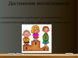 Достижения воспитанников ссылки\школьные и районные достижения.docx ссылки\об