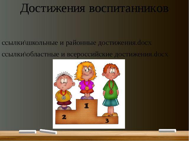 Достижения воспитанников ссылки\школьные и районные достижения.docx ссылки\об...