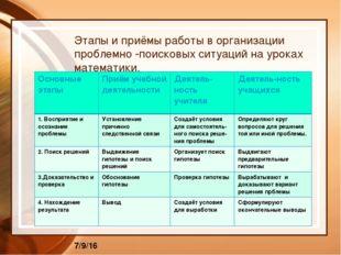Этапы и приёмы работы в организации проблемно -поисковых ситуаций на уроках