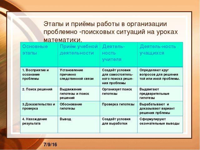 Этапы и приёмы работы в организации проблемно -поисковых ситуаций на уроках...