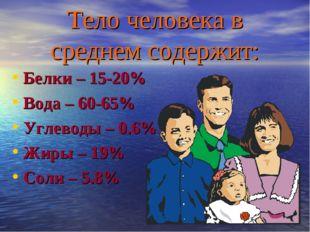 Тело человека в среднем содержит: Белки – 15-20% Вода – 60-65% Углеводы – 0.6