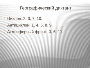 Географический диктант Циклон: 2, 3, 7, 10. Антициклон: 1, 4, 5, 8, 9. Атмосф