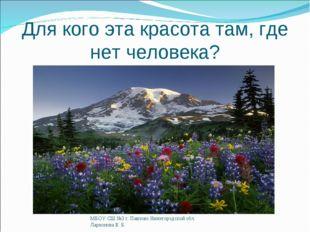 Для кого эта красота там, где нет человека? МБОУ СШ №3 г. Павлово Нижегородск