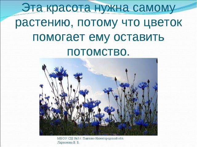Эта красота нужна самому растению, потому что цветок помогает ему оставить по...