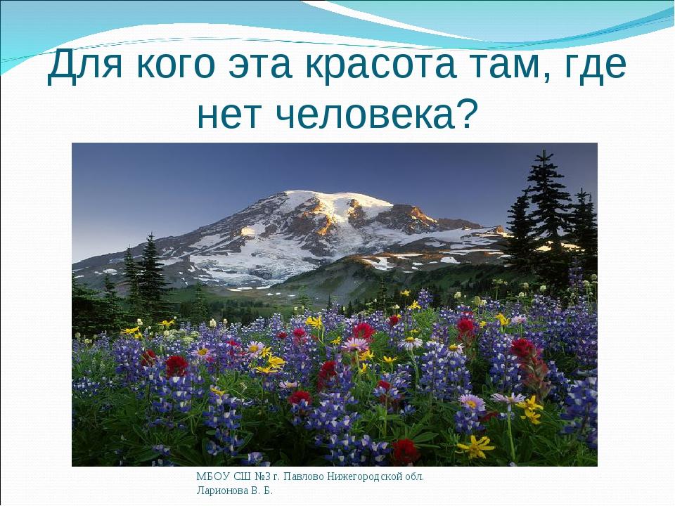 Для кого эта красота там, где нет человека? МБОУ СШ №3 г. Павлово Нижегородск...