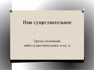 Имя существительное Третье склонение имён существительных в ед. ч.