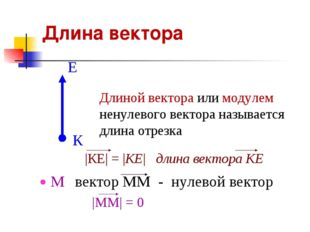 Длина вектора Длиной вектора или модулем ненулевого вектора называется длина