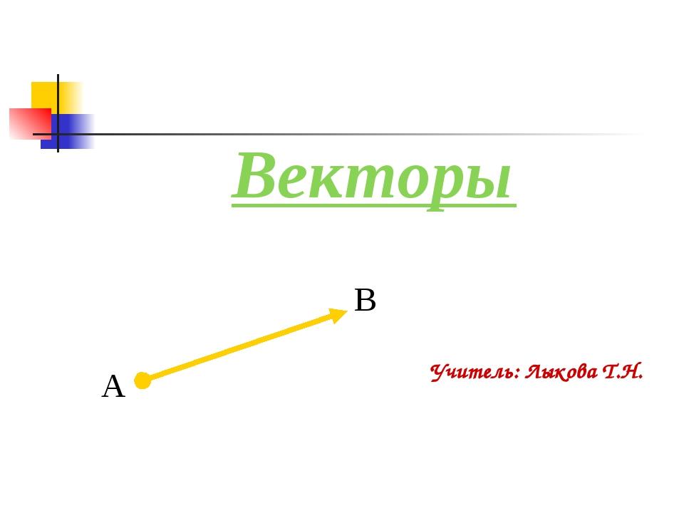 Векторы Учитель: Лыкова Т.Н.