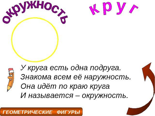 У круга есть одна подруга. Знакома всем её наружность. Она идёт по краю круга...