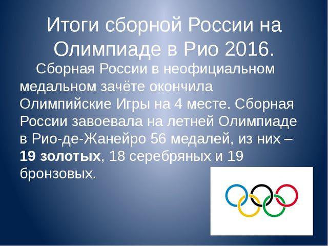 Итоги сборной России на Олимпиаде в Рио 2016. Сборная России в неофициальном...