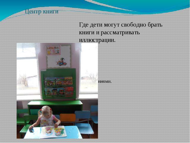 Центр книги Где дети могут свободно брать книги и рассматривать иллюстрации....