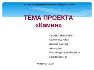ГБСУВУ «Няндомская спецшкола закрытого типа» ТЕМА ПРОЕКТА «Камин» ПРОЕКТ ВЫПО