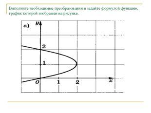 Выполните необходимые преобразования и задайте формулой функцию, график котор