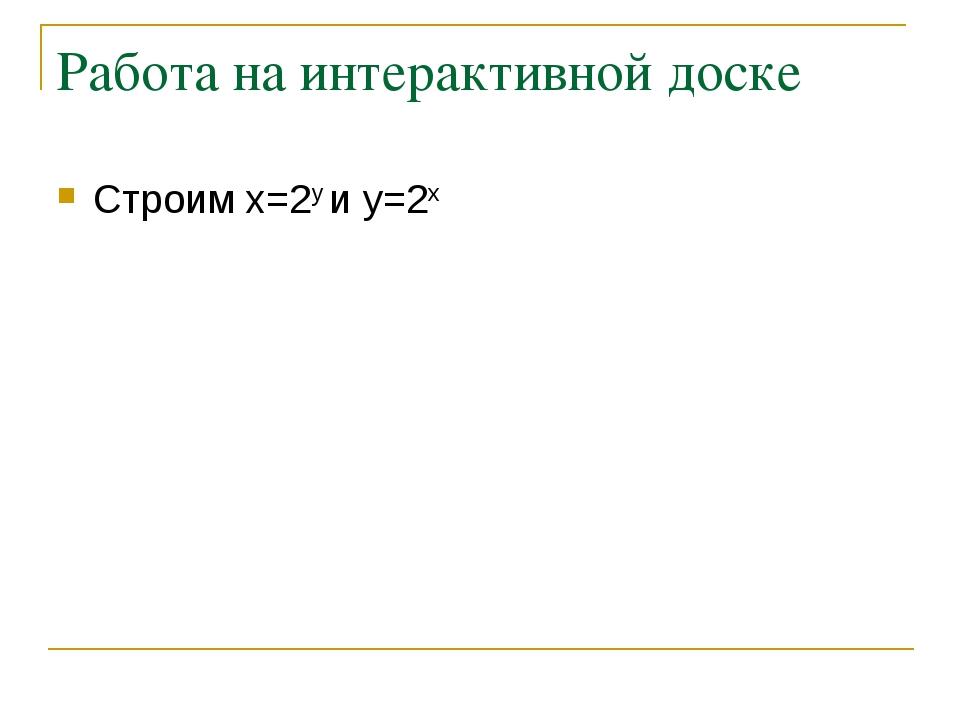 Работа на интерактивной доске Строим x=2y и y=2x