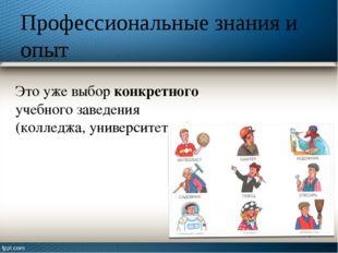 Профессиональные знания и опыт Это уже выбор конкретного учебного заведения (