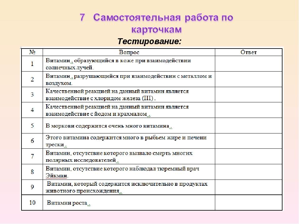 Тестирование: