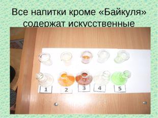 Все напитки кроме «Байкуля» содержат искусственные красители