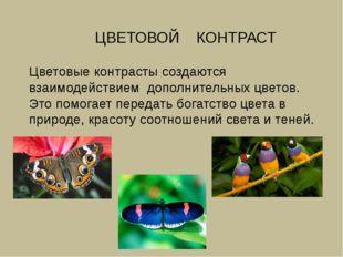 ЦВЕТОВОЙ КОНТРАСТ Цветовые контрасты создаются взаимодействием дополнительны