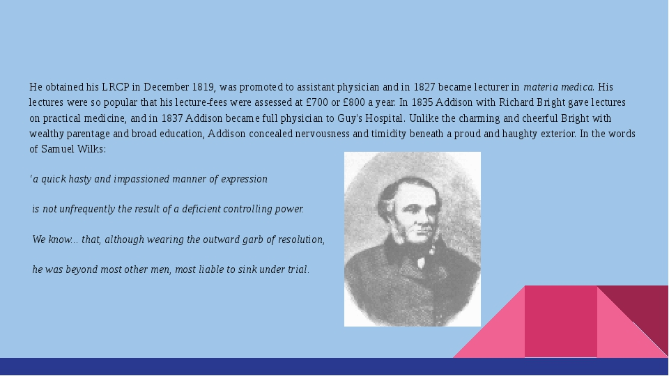 He obtained his LRCP in December 1819, was promoted to assistant physician a...