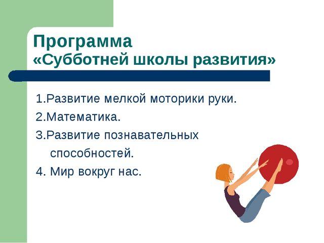 Программа «Субботней школы развития» 1.Развитие мелкой моторики руки. 2.Матем...