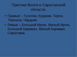 Притоки Волги в Саратовской области. Правые – Гуселка, Курдюм, Терса, Терешка