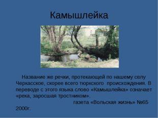 Камышлейка Название же речки, протекающей по нашему селу Черкасское, скорее в