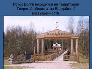Исток Волги находится на территории Тверской области, на Валдайской возвышенн