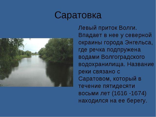 Саратовка Левый приток Волги. Впадает в нее у северной окраины города Энгельс...