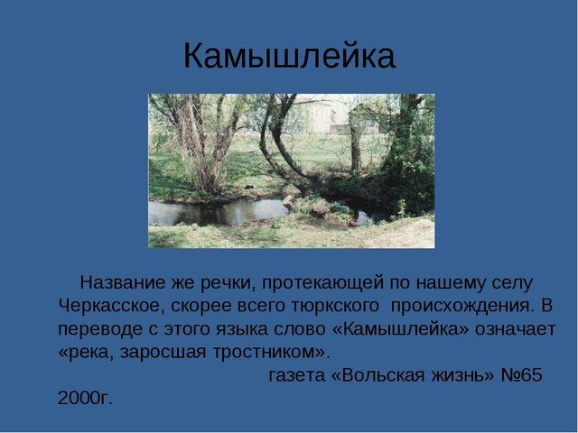 Камышлейка Название же речки, протекающей по нашему селу Черкасское, скорее в...