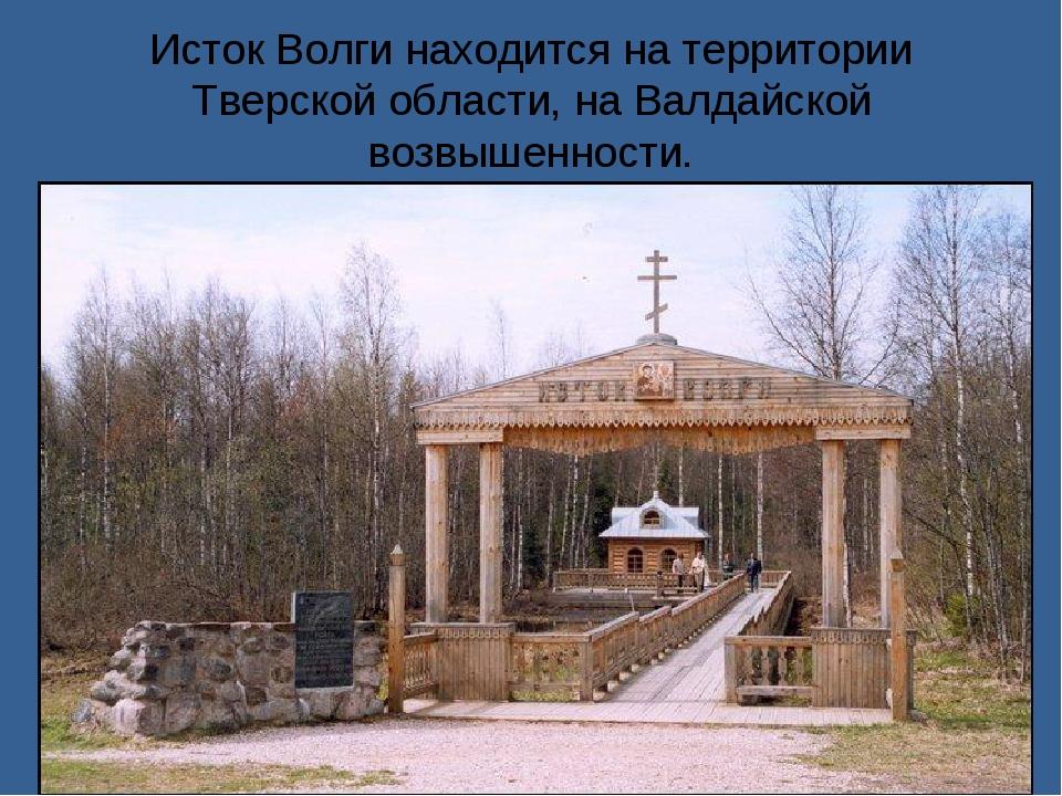 Исток Волги находится на территории Тверской области, на Валдайской возвышенн...