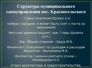 Структура муниципального самоуправления пос. Красносельского Глава поселения