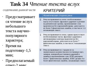 Task 34 Чтение текста вслух СОДЕРЖАНИЕ ДАННОЙ ЧАСТИ Предусматривается чтение