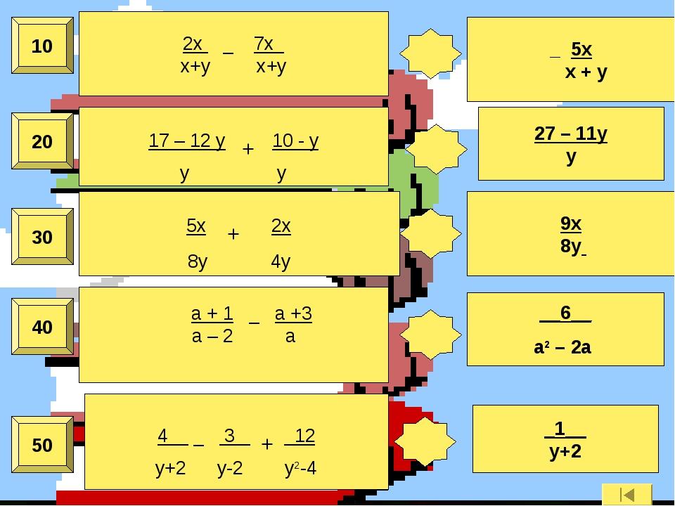 50 40 30 20 10 2x _ 7x x+y x+y _ 5x x + y 17 – 12 y + 10 - у y y 27 – 11y y 5...