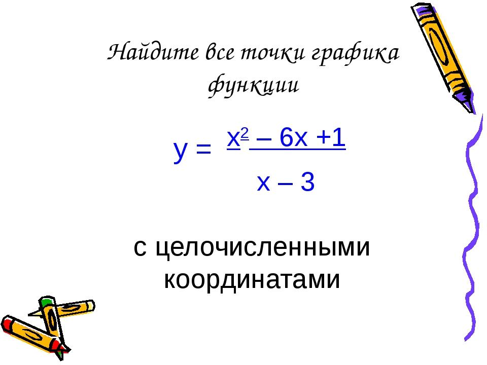 Найдите все точки графика функции у = х2 – 6х +1 х – 3 с целочисленными коорд...