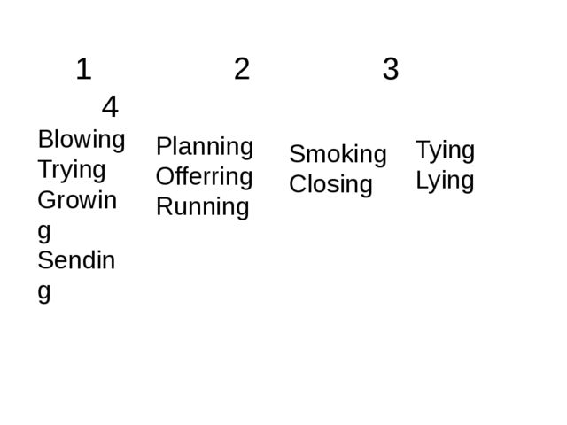 Smoking Closing Blowing Trying Growing Sending Planning Offerring Running Tyi...