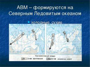 АВМ – формируются на Северным Ледовитым океаном холодные, сухие