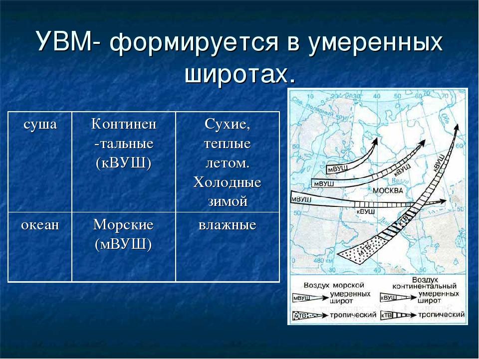 УВМ- формируется в умеренных широтах. сушаКонтинен -тальные (кВУШ)Сухие, те...