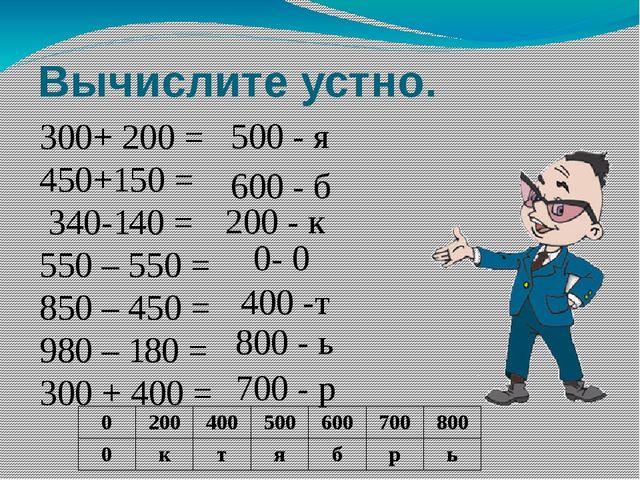 Вычислите устно. 300+ 200 = 450+150 = 340-140 = 550 – 550 = 850 – 450 = 980 –...