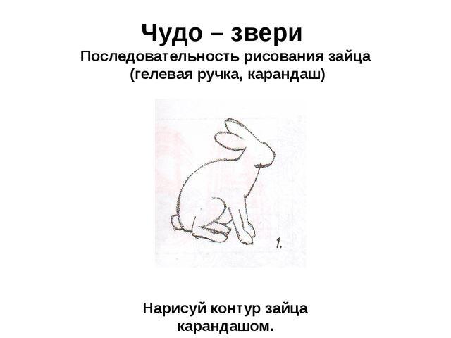Чудо – звери Последовательность рисования зайца (гелевая ручка, карандаш) Нар...
