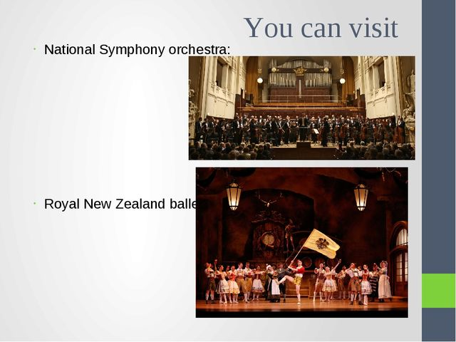 You can visit National Symphony orchestra: Royal New Zealand ballet: