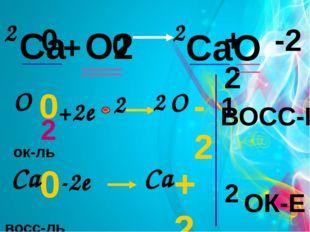 Са + О2 СаО 0 0 +2 -2 2 2 +2e -2e 2 восс-ль ок-ль 0 О 2 -2 О 0 Са +2 Са 2 ОК-