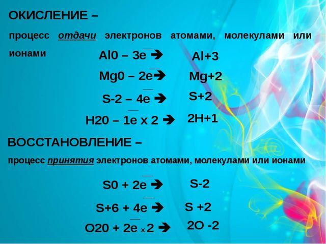 ОКИСЛЕНИЕ – процесс отдачи электронов атомами, молекулами или ионами Al+3 Mg+...
